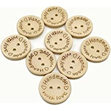MerryJuly 100pcs Wooden Button Handmade with Love Round Crafts Decor 2 Holes Wooden Sewing Buttons (25MM)