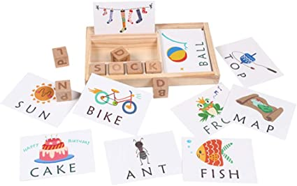 Baby Wooden English Spelling Words Enlightenment 3-in-1 Spelling Learning Game