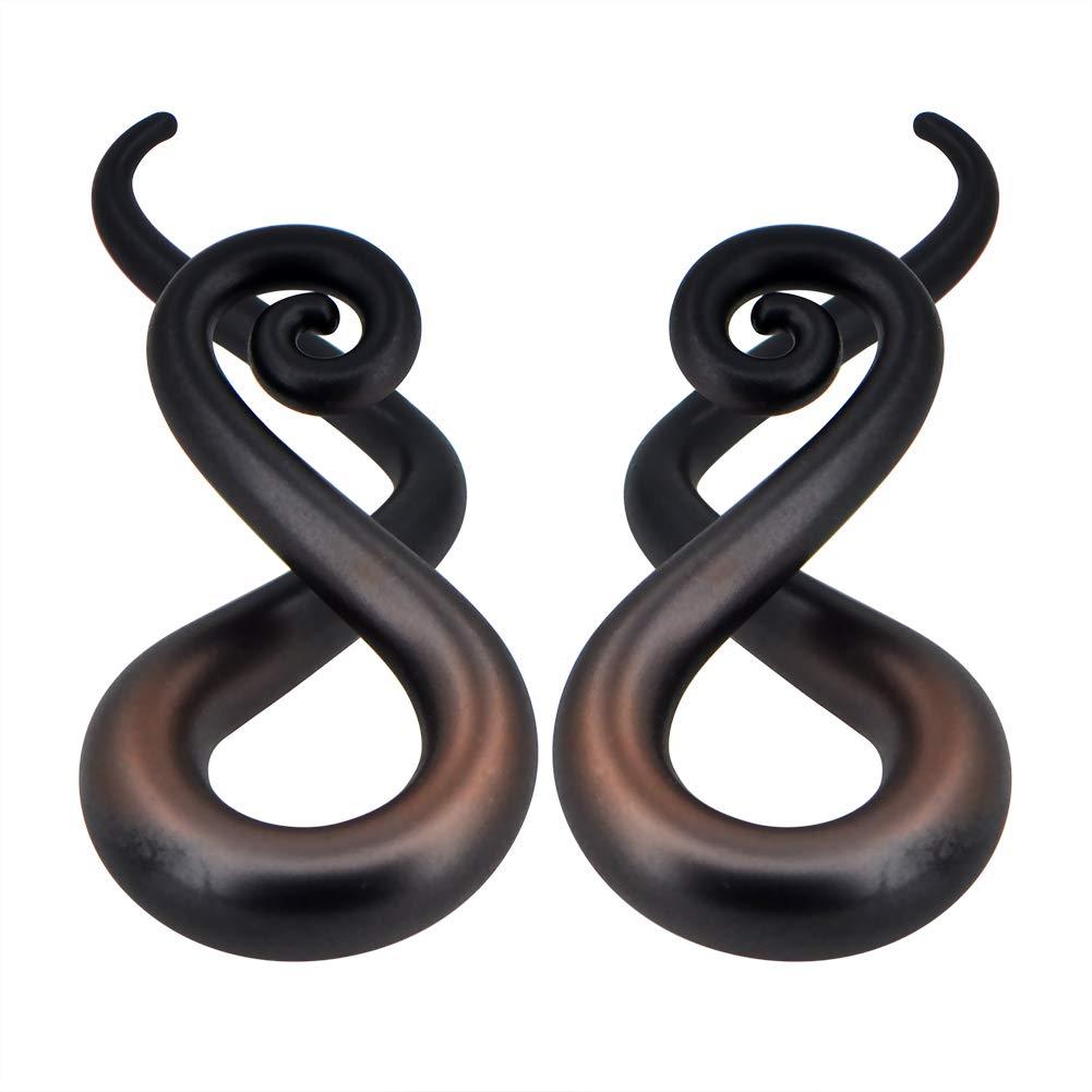 MoBody One Pair Pyrex Glass Ear Gauge Taper Hangers 4G-12mm Handmade Black and Bronze Metallic Glass Ear Gauge Plugs Set