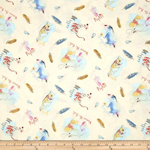 Springs Creative Products Disney Pooh Everyday Pooh and Friends Feathers Multi Fabric By The (Piglet Fabric)