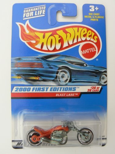Lane Blast - Hot Wheels 2000 First Editions #36 of 36 Blast Lane Orange on Square Red Banner Card 2000 Collector # 096