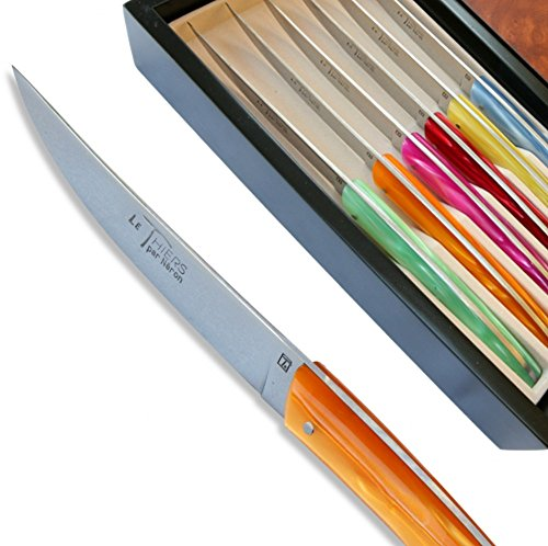 Set 6 Thiers steak knives - coloured Plexiglas handles direct from France by Laguiole Actiforge