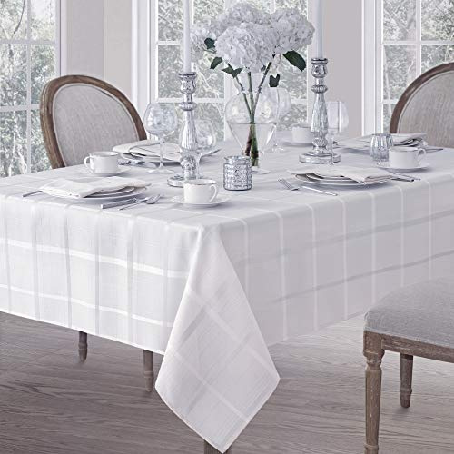 - Elegance Plaid Contemporary Woven Solid Decorative Tablecloth by Newbridge, Polyester, No Iron, Soil Resistant Holiday Tablecloth, 52 X 70 Oblong, White