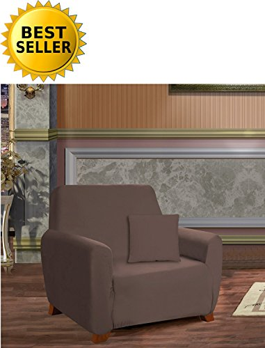 Elegance Linen Collection Luxury Soft Furniture Jersey STRETCH SLIPCOVER, Chair Chocolate (Jersey Soft Slipcovers)