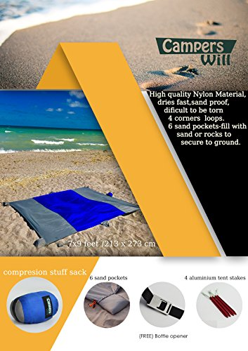 Campers-Will-Compact-Beach-Blanket--Multi-Purpose-Blanket--Portable-Easy-to-use-7-x-9-Ft--Premium-Sand-Proof-Outdoor-Blanket