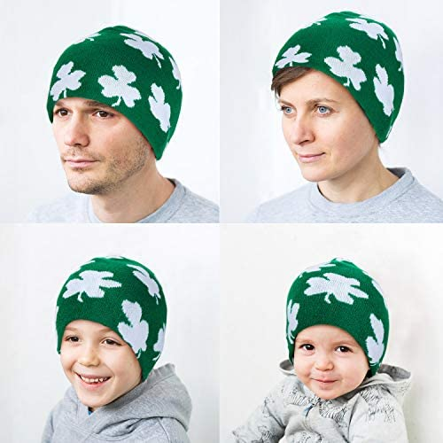 SATINIOR 3 Pieces St Patricks Day Hats Shamrock Beanie Hat Green Beanie Cap for St Patricks Day