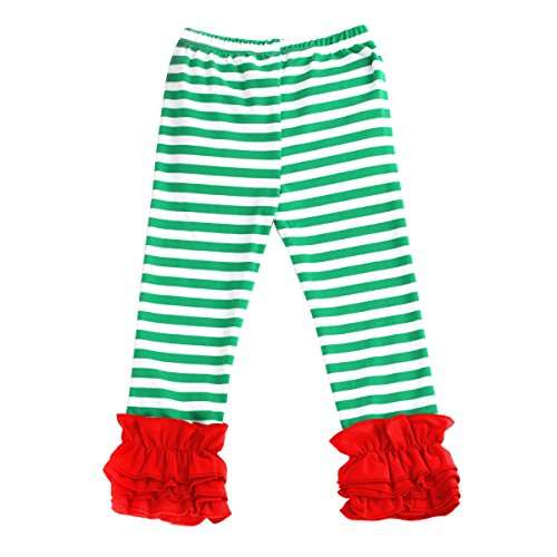 Little Big Girl Icing Ruffle Pants Boutique Ruffle Leggings Cotton Trousers Activewear Playwear Birthday Party Red & Green Stripe 4-5 Years -