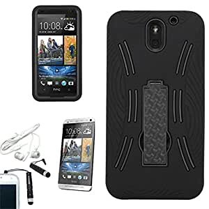 [ARENA] BLACK HYBRID DUAL CURVE STAND COVER HARD GEL CASE for HTC DESIRE 610 + FREE ARENA ACCESSORIES