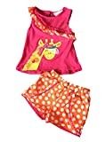 Little Girls Short Set Animal Floral Cotton Outfit