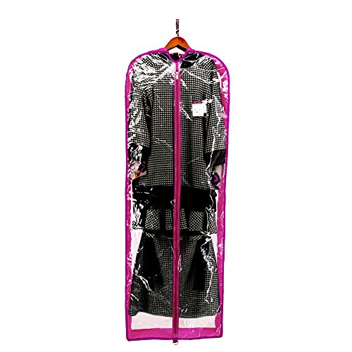 """DALIX 60"""" Clear Garment Bag Travel Costume Long Dress Gown Dance in Hot Pink"""
