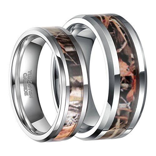 Frank S.Burton 8mm Tungsten Camouflage Inlay Hunting Ring Wedding Engagement Band Comfort Fit Size 10