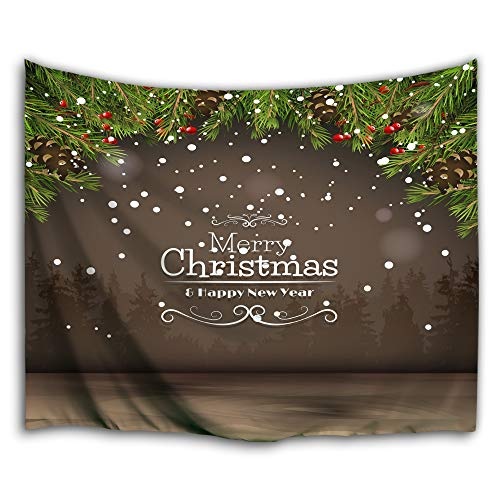 Colorful Star Merry Christmas Design Wall Hanging Tapestry,Machine-Washable&Antibacterial&Eco-Friendly Made of 100% Polyester Fabric,Non Toxic, Odor Free,No Fading 80