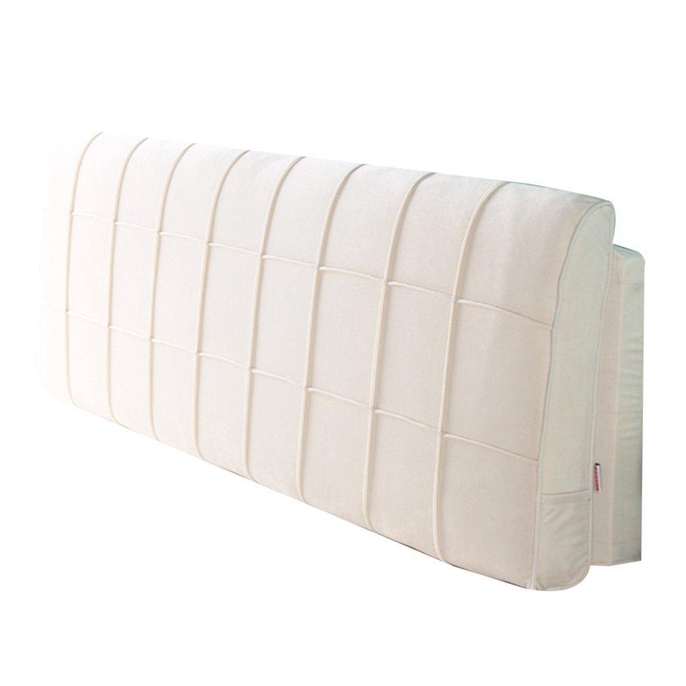GXY Abnehmbare Und Waschbare Bett Kopfkissen Bett Soft Pack Kopfteil Weiche Tasche Kissen Tatami Stoff Großen Rücken Bettdecke Kissen (Farbe : Cremeweiß, größe : 180x10x58cm)