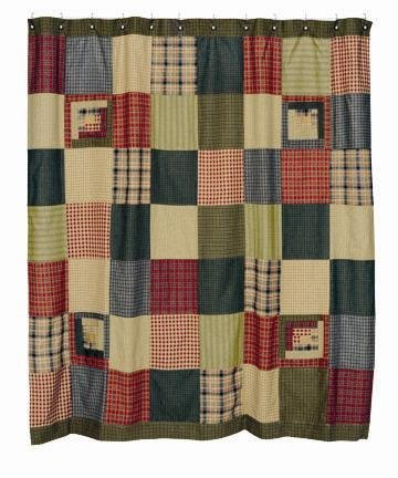 Tea Cabin Shower Curtain Rustic Primitive Lodge 100% Cotton (Primitive Cabin Log)