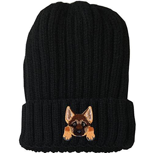 [ German Shepherd ] Cute Embroidered Puppy Dog Warm Knit Fleece Winter Beanie Skull Cap [ Black ] ()