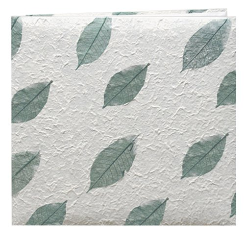 Pioneer 12 Inch by 12 Inch Postbound Textured Natural Mulberry Paper Cover Memory Book, Green Leaf