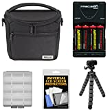Nikon 17009 Series 1/Coolpix Compact Camera Case with 4 AA Batteries & Charger + Flex Tripod + Kit for Coolpix, L830, L840