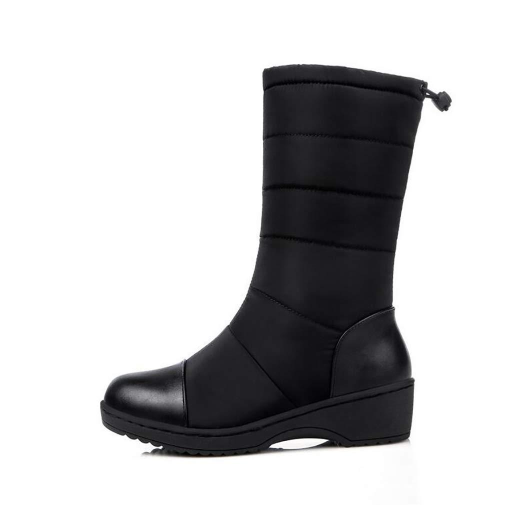 Hy Frauen Stiefel Winter Künstliche PU Warm Plus Kaschmir Schnee Stiefel Stiefel/Damen Daunen Wasserdichte Winterstiefel/Flache Ferse Stiefelies/Stiefeletten (Farbe : Schwarz, Größe : 38)