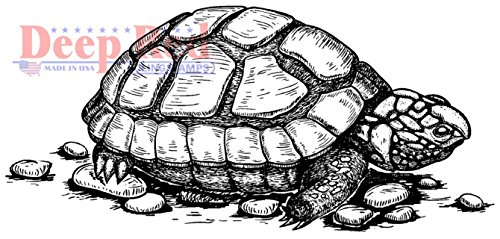 Deep Red Rubber Cling Stamp Spring Tortise Turtle Amphibian