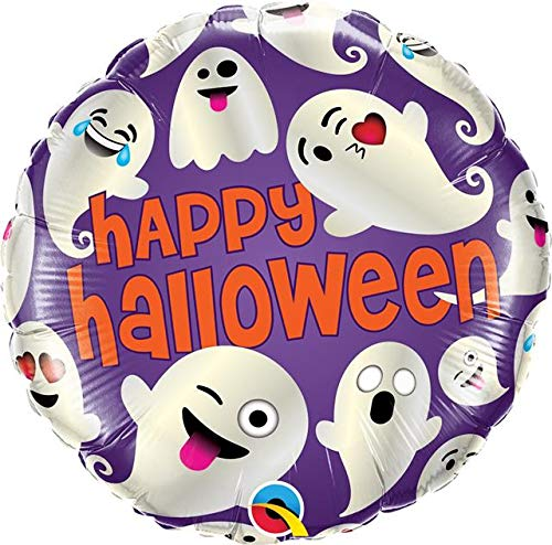 Qualatex Q58153 Happy Halloween Emoticon Ghost 18 inch Foil Balloon