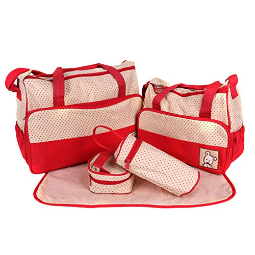 Baby Products Polka Dot Five-piece Suit Stylish And Durable Multifunction Mummy Bag Can Be Diagonal Backpack (Red)