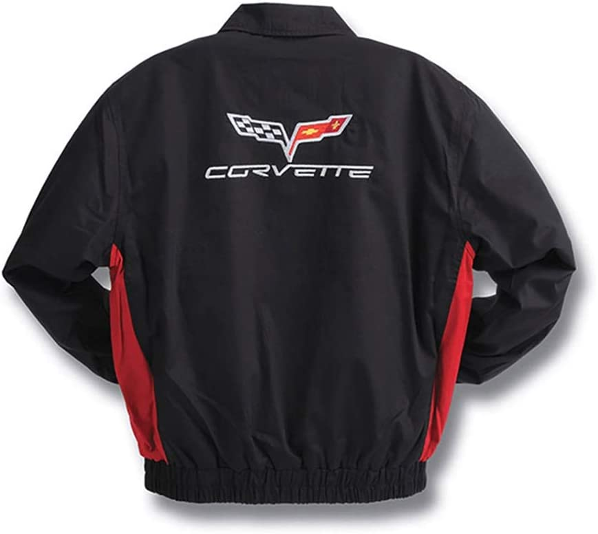 Black and Red Twill Embroidered C6 2005-2013 Corvette Jacket X-Large