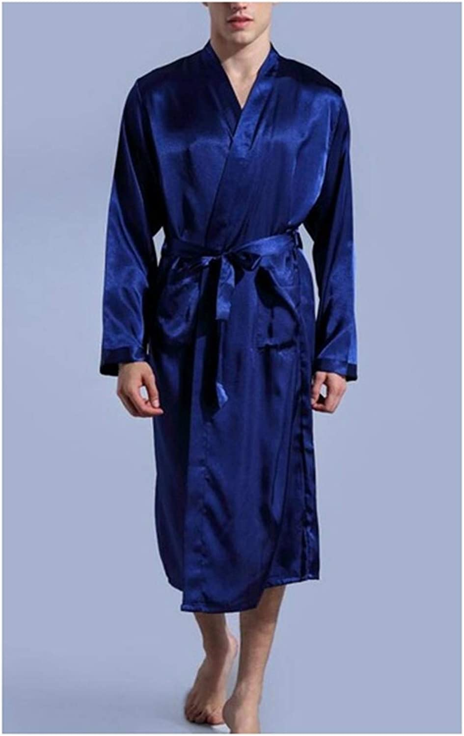 Mens Satin Rayon Robe Gown Solid Color Kimono Bath Gown Lounge Casual Male Nightgown Sleepwear Navy Blue