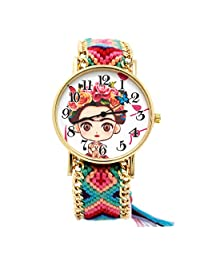 Reloj Frida Kahlo Dibujo con Correa de tela ajustable Multi Color Movimiento Análogo (Multi Color Azul)
