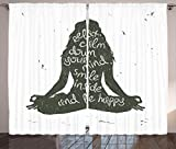 Ambesonne Yoga Decor Collection, Relax Calm Down Your Mind Smile Inside Be Happy and Woman Silhouette Sitting Yoga Image, Living Room Bedroom Curtain 2 Panels Set, 108 X 84 Inches, Dark Green White