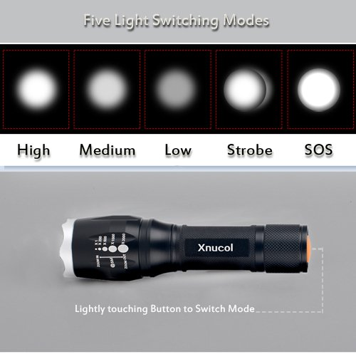 LED Flashlight,Xnucol Ultra Bright Multifunction Focus Adjustable Flashlight For Outdoor Sport Explore Home Lighting Car Emergency Escape Window Breaker and Survival Torch (Silver)