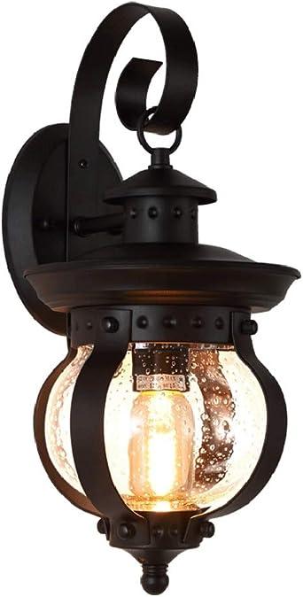 Lámpara de pared exterior retro cazadora lámpara de pared de hierro forjado creativo con pantalla de cristal portalámparas E27 for el jardín de iluminación balcón terraza: Amazon.es: Iluminación