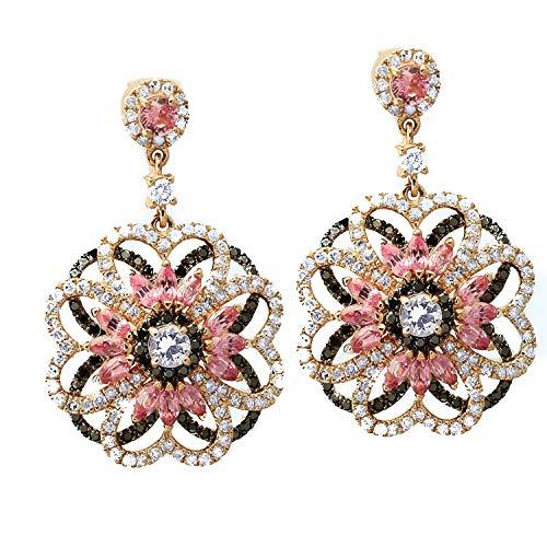 Olivia Paris 14k Two Tone Gold White Diamond and Sapphire Flower Drop Earrings