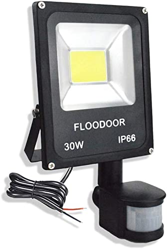 FLOODOOR 30W LED Motion Sensor Light Outdoor Safety Waterproof 12-24V AC DC IP66 Super Bright Floodlight, 6000K, Daylight White, 150W Bulb Equivalent, 2700LM, PIR Intelligent Sensor Light No Plug