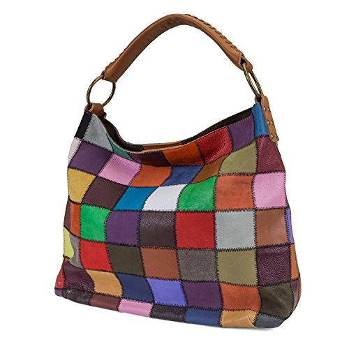 Patchwork Handbag Purse - Kooba Womens Multicolored Patchwork Leather Handbag With Interior Zippered Pockets