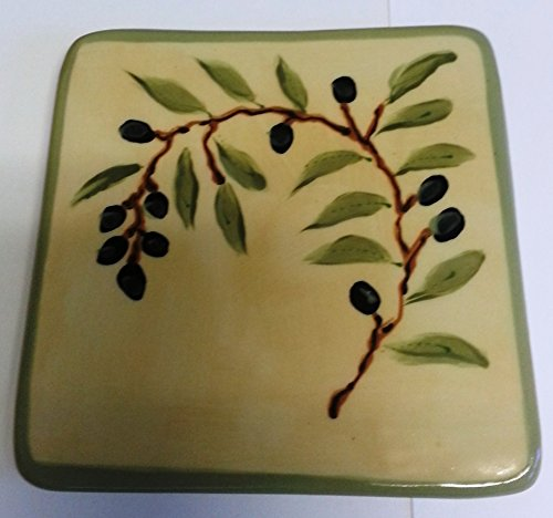 Fired Up Clay Works handmade Ceramic Trivet, Choice of Styles, Made in the USA (olive branch)