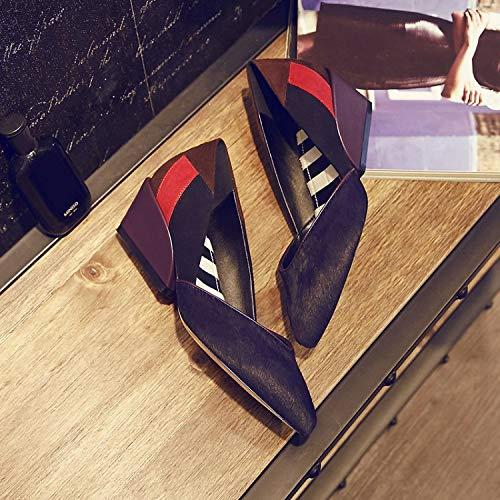 Señaló Zapatos Yukun Mujeres Mujer con PU Moda Zapatos De Purple zapatos Otoño Zapatos Mujeres PU Caballo Hueco Cuatro Pelo de Cuña tacón alto Boca Estaciones Baja XFZXqr