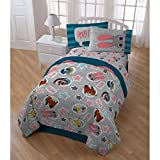 5pc Blue Grey Kids Disney Zootopia Movie Theme Comforter Twin Set, Cute Disneys Star Characters Judy Hopps Bunny Nick Wilde Finnick Fox, Fun Stripe Bedding