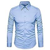 light blue dress shirt slim fit - Manwan walk Men's Slim Fit Business Casual Cotton Long Sleeves Solid Button Down Dress Shirts (Large, Light Blue)