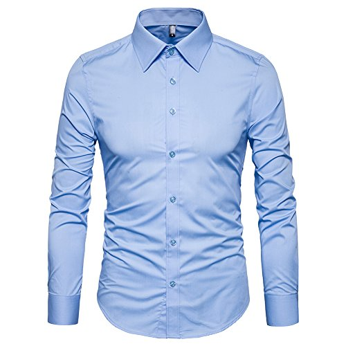 Manwan walk Men's Slim Fit Business Casual Cotton Long Sleeves Solid Button Down Dress Shirts (Medium, Light Blue) - Mens Light Cotton Dress Shirt