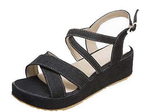 VogueZone009 Women Kitten-Heels Fabric Solid Buckle Open-Toe Sandals Black