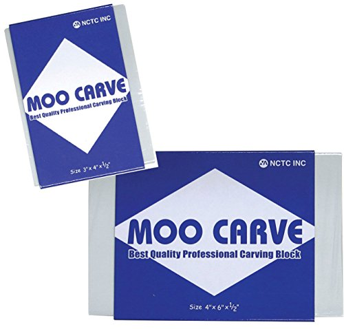 Moo 2 Pack Art Carving Block 4 X 6 X 1/2'' & 3 x 4 x 1/2'' Soft Printing/Stamp Gray Carving Print Studio Pack of Unmounted Artist Printmaking Art Tool Set by MooMoo