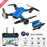 Mini Drone with Camera Live Video BIZONOD SG700 WIFI FPV Rc Quadcopter with Dual 720p HD Cameras Auto-photograph Folding RTF Remote Control Rc Helicopter Toy for beginners Kids(Blue)