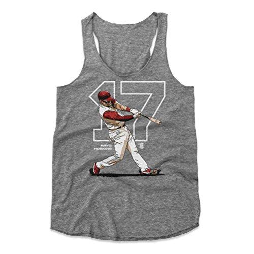 - 500 LEVEL Rhys Hoskins Women's Tank Top Medium Heather Gray - Philadelphia Baseball Women's Apparel - Rhys Hoskins Outline W WHT