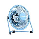 quiet small tower fan - OPOLAR Mini USB Desk Fan ,USB Powered, Metal Design, Quiet Operation; 3.9 ft USB Cord, Handheld Size, Power Saving , Personal Table Fan for Home and Office-Blue