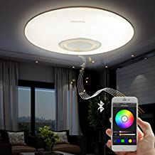Led Music Ceiling Light with Bluetooth Speaker 25W, Modern Light Fixtures with RGB Color Changing,23inch 80W Home Party Light with Remote Control for Bedroom Living Room Dining Room Wedding(Golden)
