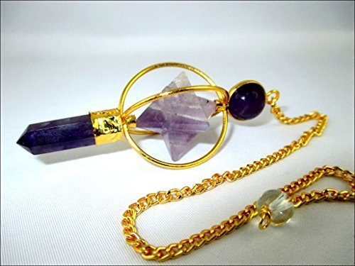 Jet Gold Plated Amethyst Spinning Merkaba Pendulum 2.5 inch Jet International Crystal Therapy 40 Page Booklet Chakra Balancing