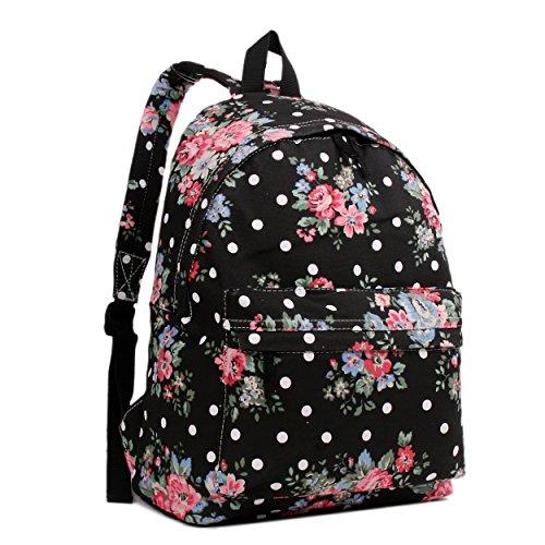 Miss LuLu, Rucksack / Schultasche, retro, elegant, verschiedene Designs Schwarz - Floral Black