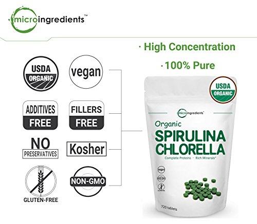 Organic Chlorella & Spirulina 3000mg, 720 Tablets, 120 Servings, Best Superfood for Antioxidant, Prebiotics, Chlorophyll, Amino Acids, Fiber & Proteins, Non-GMO & Vegan Friendly by Micro Ingredients (Image #3)