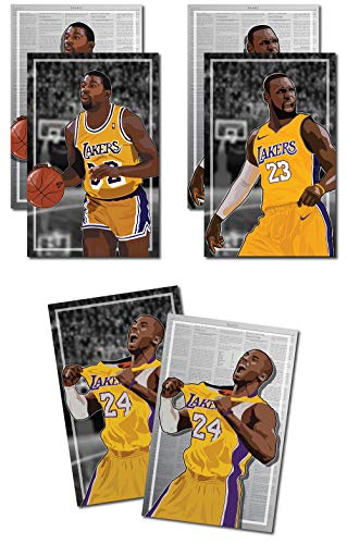 Oakley Graphics 3 Posters of LA Lakers - Magic Johnson, Kobe Bryant, Lebron James Art Prints - Buy 1 Get 2 Free, 3 Total Prints (2-Sided) (Medium Set - 12