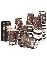 MATANA 80 koffiekopjes met veilige lekbestendige deksels,12 oz - afhaalpapier bekers met houten roerders - warme en koude dranken